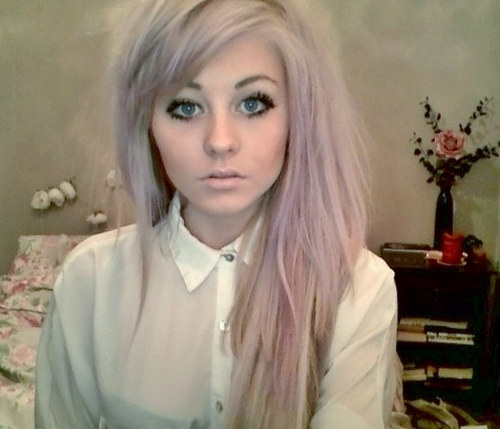 alternative, alternative girl, blouse, blue eyes, eyes, girl, makeup, scene, scene girl, white hair