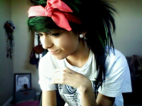alternative, bandana, colored hair, colorful, colorful hair, coloured hair, cute, dark hair, dye, dyed hair, earring, girl, gorgeous, green, green hair, hair, hairstyle, ribbon, smiling