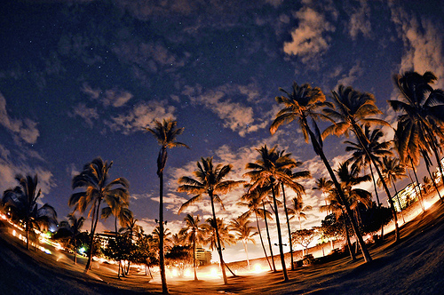 america, beach, california, hawaii, night
