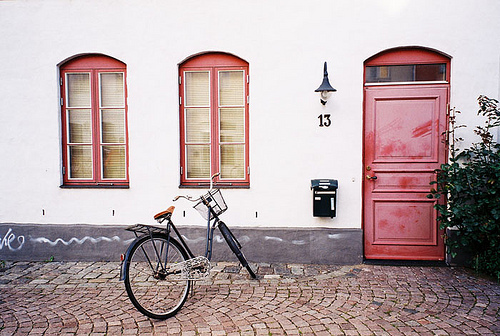 analog, bicycle, bike, door, film, house, pink, vintage, window