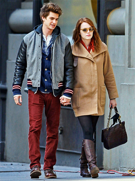 andrew garfiel, couple, cute, emma stone, love