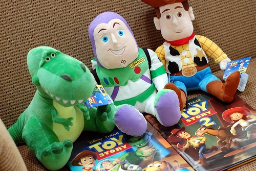 andy, buzz lightyear, cute, disney, rex, stuffed toys, toy story, woody