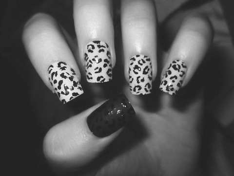 animal print, b&w, black and white, finger, fingers, hand, leopard, leopard print, nail, nail art, nail polish, nails