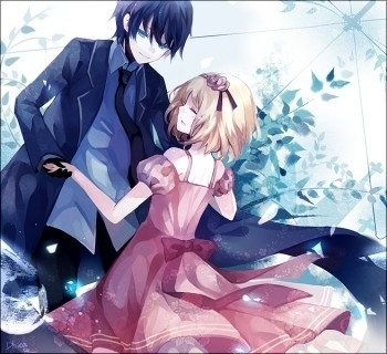 anime, blonde girl, blue eyes, boy, boy and girl, cinderella, girl, happy, love, manga, princess