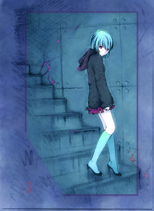 anime, blue, eyes, girl, home, manga, shoes