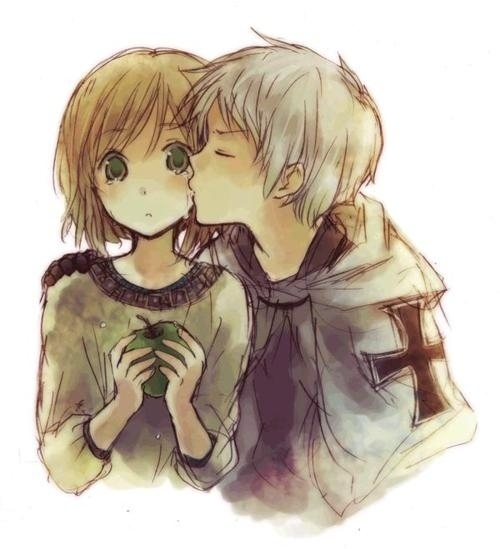 apple, boy and girl, couple, desenho, draw, drawing, kiss, love, tears