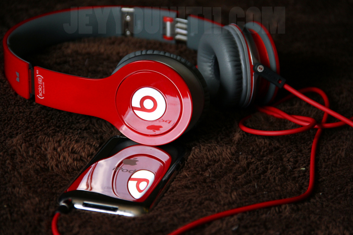 apple, headphones, ipod, red