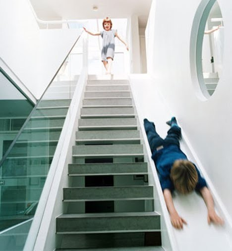 architecture, interior, kids, slide, stairs