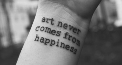 arm, art, b&w, black and white, happiness, quote, tattoo, tattooed, text