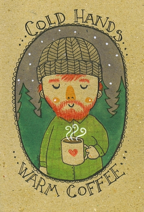 art, beard, coffee, cold, cute, hat, heart, love, snow, sweet, warm, winter