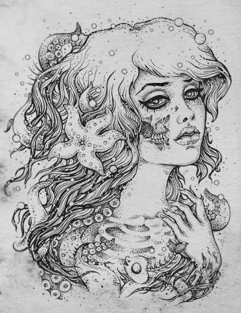 art, beautiful, black, black and white, bones, drawing, hair, mermaid, nautical, pretty, sketch, starfish, white