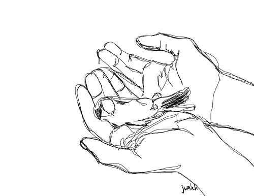 art, bird, black, black and white, contour, drawing, hand, hands, illustration, sketch, white