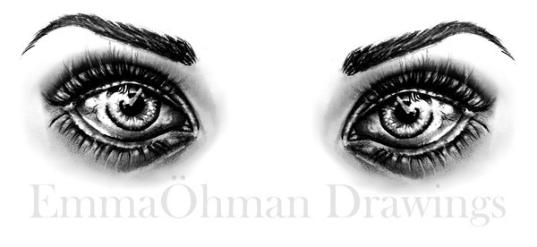 art, black and white, drawing, emmaohman, eye