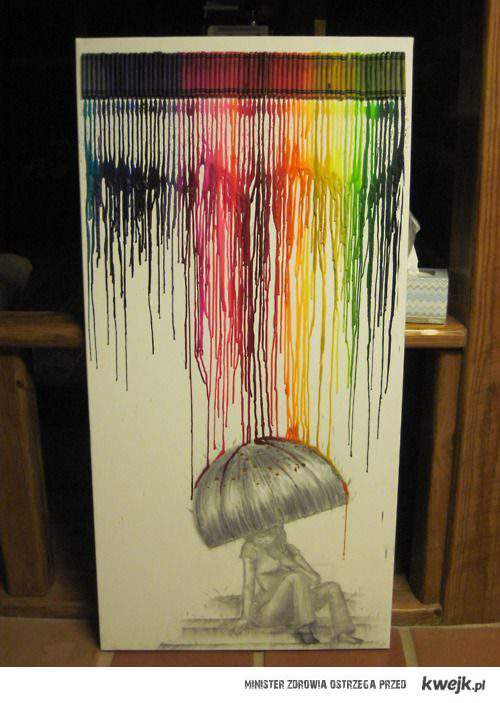 art, collour rain, colors, crayons, girl