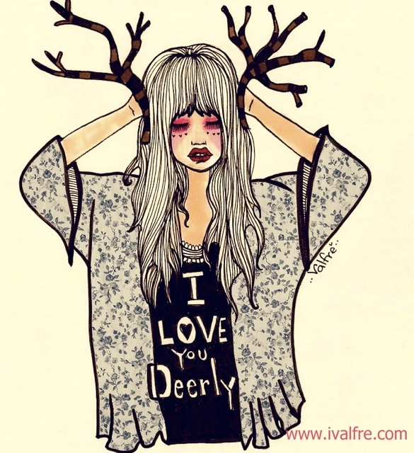 art, cute, deer, drawing, girl, girl quotes, hypster, illustration, ilse valfre, indie, ivalfre, love, love quotes, style, valfre