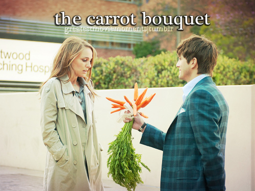 ashton kutcher, bouquet, carrot, carrots, flowers, greatestmoviemoments, love, movie, natalie portman, no strings attached