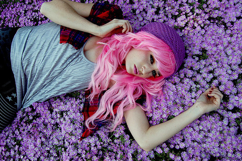 audrey kitching, flowers, model, pink hair, plaid, purple