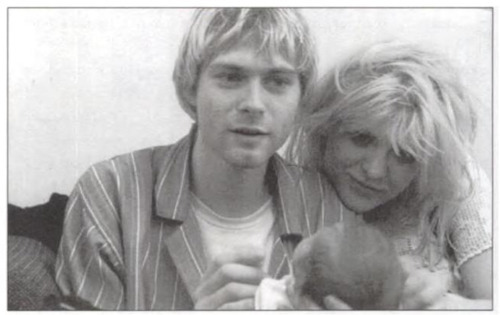 baby, black and white, cobain, courtney love, family, frances bean cobain, kurt cobain, love, nirvana