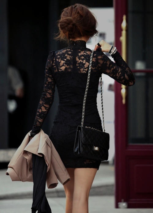 bad, bracelet, brunette, bun, fashion, jacket, jewelry, lace, legs, pretty, purse, ring, updo