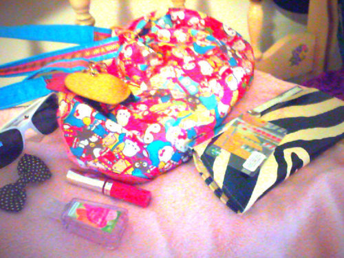 bag, bath and body works, bed, blanket, bow, cartoons, cute, glasses, hand sanitizer, handbag, hello kitty, lip gloss, pink, polka dot, pouch, purse, starbucks, starbucks coffe, starbucks coffe gift card, zebra