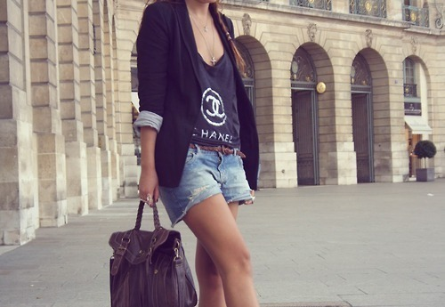 bag, blazer, casual, chanel, coco chanel, cross, cross necklace, cute, distressed, distressed shorts, fashion, girl, purse, satchel, satchel bag, shorts, street, street fashion, street style