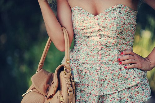 bag, dress, girl, photography, red nails