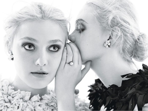 ballons, beauty, black and white, blue, dakota fanning, design, elle fanning, fiocco, girl, hair, lake, photoshoot, pink, secrets, sisters, style, white