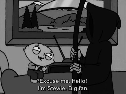b&w, black & white, black and white, cartoon, family guy, lol, stewie, the grim reaper