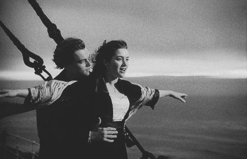 b&w, black and white, blackandwhite, boy, couple, cute, girl, i love, leonardo dicaprio, love, photography, rose, titanic