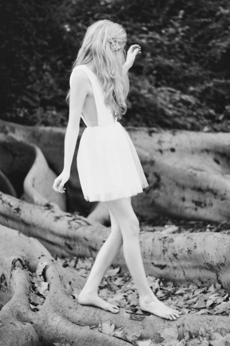 b&w, black and white, blonde, bow, curly hair, dress, fashion, hair, photography, pretty, skinny, thin, trees, unique, walking, wavy hair, white