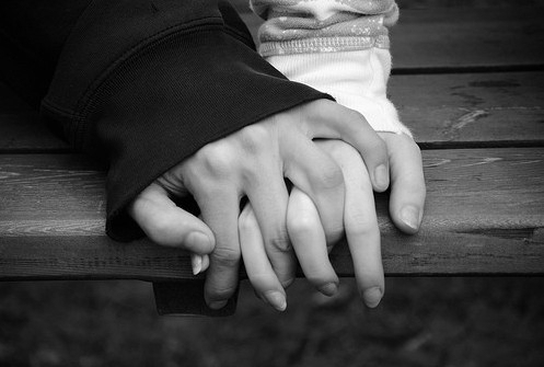 b&amp;w, black and white, couple, cute, hand