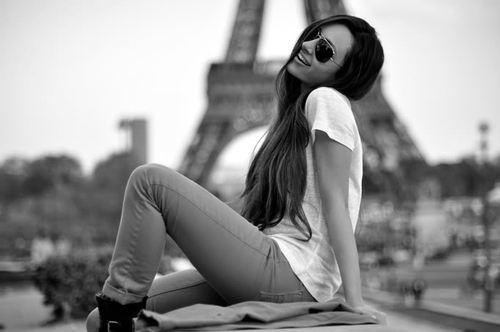 b&w, black and white, eiffel, eiffel tower, girl, paris