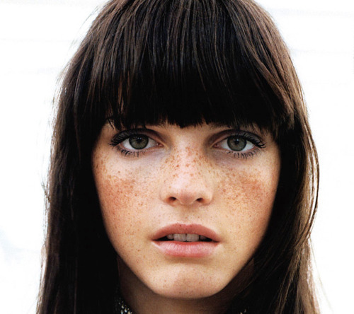 bangs, beautiful, cute, dark hair, eyelashes, eyes, face, freckles, girl, gorgeous, green eyes, hair, light, lips, makeup, model, mouth, nose, perfect, photography, pretty