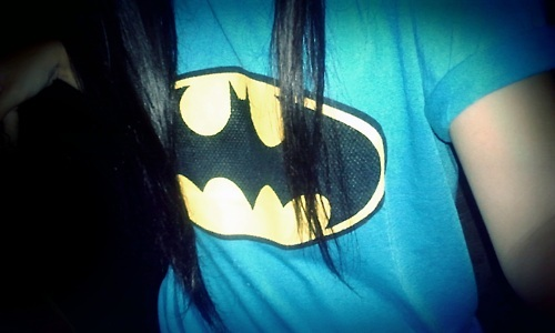 batman, batman shirt, blue, hair, model