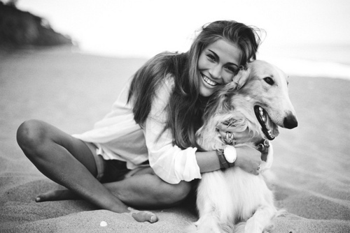 beach, beautiful, chica, chicas, dog
