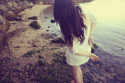 beach, beautiful, dress, girl, sand, stones, water
