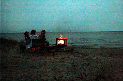 beach, camp, fire, friends, light, ocean, people, sea, water