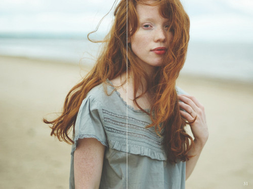 beach, fashion, ginger, girl, hair, head, lips, ocean, red, red hair, redhead, river, sand, sea, skinny, thin, water