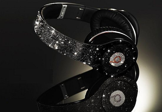beats, black and white, diamonds, glitter, headphones