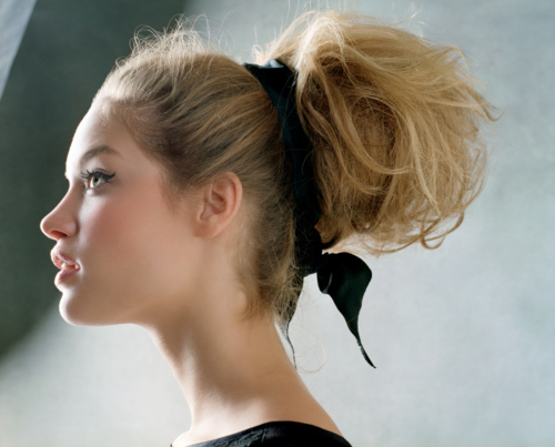 beautiful, beauty, black, blonde, cat eye, doll, eyeliner, face, fashion, girl, hair, hair bow, messy bun, model, pretty, ribbon, updo