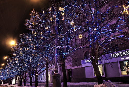 beautiful, beauty, blue, christmas, christmas tree, cute, light, lights, nature, neon, photography, pretty, snow, sweet, tree, winter