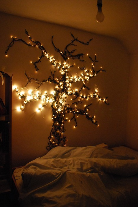 beautiful, bedroom, lights, room, tree