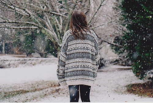 beautiful, big, cold, fashion, forest, girl, jeans, nature, nice, omg, park, pattern, photo, picture, snow, snowstorm, style, sweater, tree, vintage, winter, women