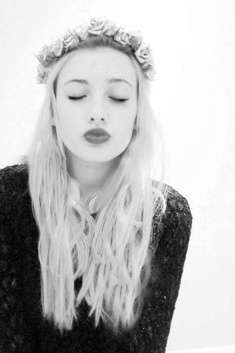 beautiful, black and white, black and whiteflower, blonde, blonde girl, braid, fashion, fashion pony tail, girl, hair style, new york, photography, red