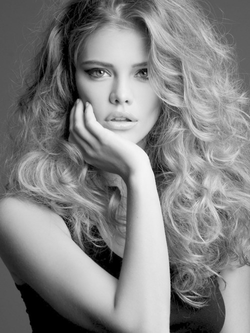 beautiful, black and white, blonde, curly, curly hair