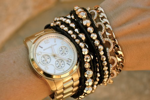 beautiful, black, bracelet, fashion, girl, gold, watch, white