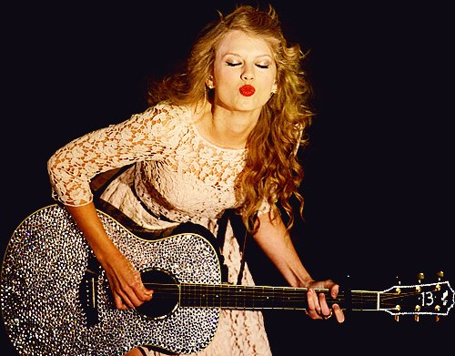 beautiful, blonde, guitar, kiss, lips, red lips, sparkly, swift, taylor, taylor swift