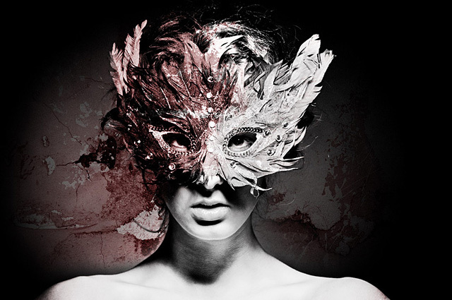 beautiful, classic, mask, opposite, red