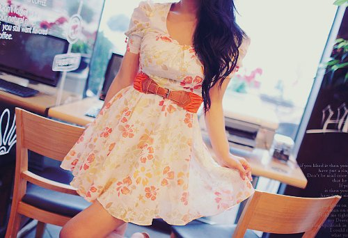 beautiful, clothes, dress, fashion, flowers, girl, hair, pretty, roses, skirt, style