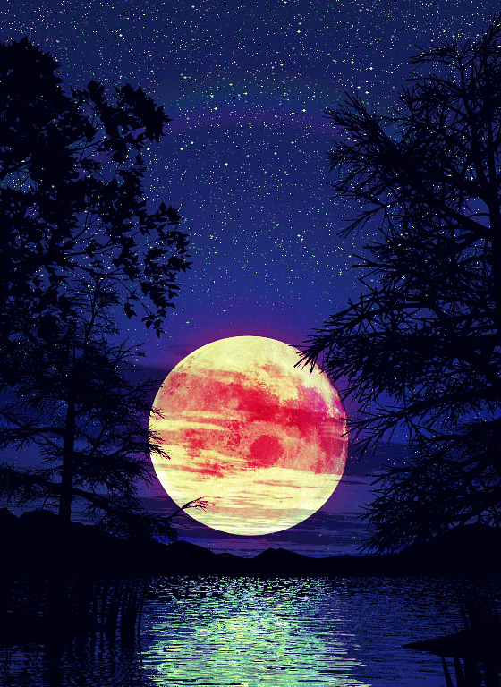 beautiful, colorful, moon, night, stars